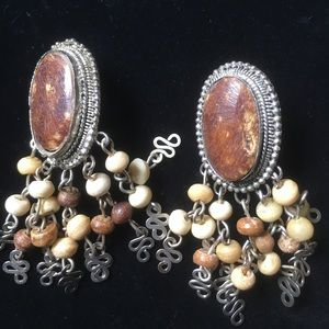 Vintage Bone Indian Earrings